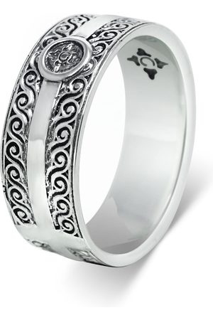 Men's Artisanal Sterling Silver Arricciati - Oxidised Ring Girati