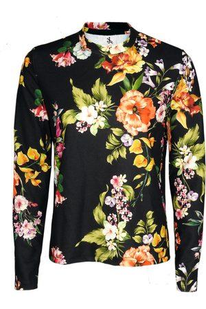 Women Long sleeves - Women's Black Crepe Floral Long Sleeved Top Large Luke Archer