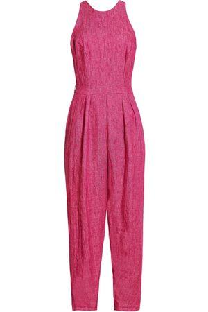 Women Jumpsuits - Women's Artisanal Pink Linen Toilet-Friendly Jumpsuit Medium Leim