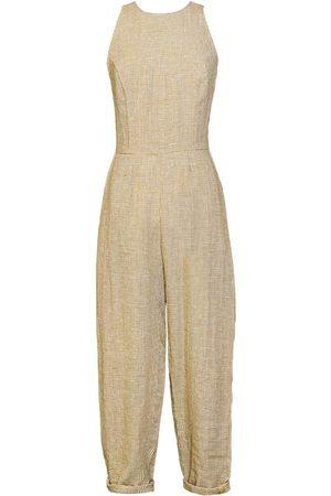Women Jumpsuits - Women's Artisanal Mustard Linen Loo-Friendly Jumpsuit XL Leim