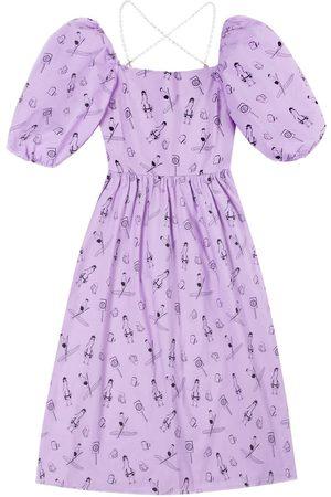 Women's Artisanal Purple Cotton Goose Square Neck Puff Sleeve Mini Summer Dress Medium Ninemoo