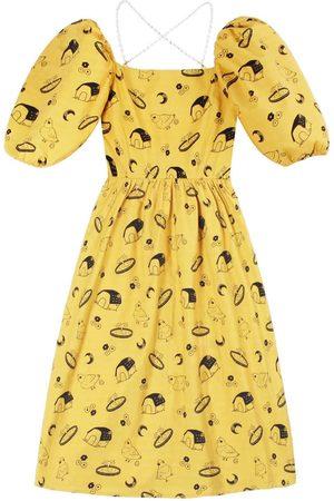 Women Party Dresses - Women's Artisanal Yellow Cotton Pigeon Square Neck Puff Sleeve Mini Summer Dress Large Ninemoo
