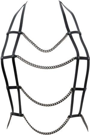 Women Necklaces - Women's Artisanal Black Leather Harne Necklace With Chain- Body Piece Provocateur PLIK