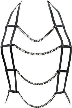 Women's Artisanal Black Leather Harne Necklace With Chain- Body Piece Provocateur PLIK