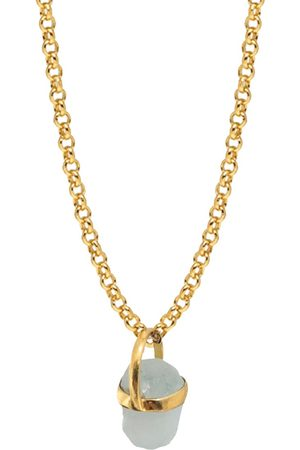 Women Necklaces - Women's Artisanal Blue Brass Aqua Marine Raw Bridge Set Pendant Mirabelle Jewellery