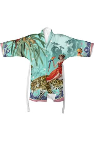 Women's Turquoise Silk Mary Kimono XL Myrtle & Mary