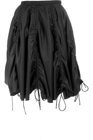 Women Asymmetrical Skirts - Women's Black Gathered Skirt 24in QUOD