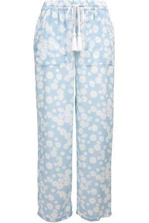 Women Pajamas - Women's Low-Impact White Cotton Daisy Pyjama Bottoms Medium Wallace Cotton