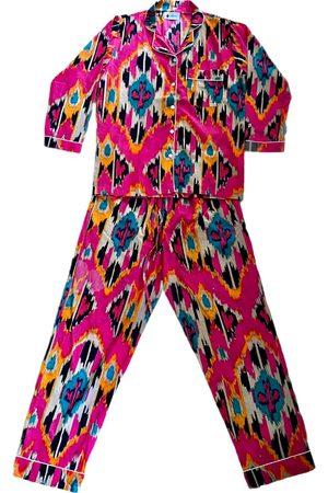 Women's Artisanal Pink Cotton Pyjamas - Ikat Small PUNICA