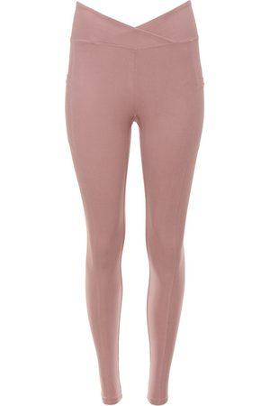 Women's Recycled Rose Gold Fabric Crossover Pocket Legging - Salt Medium Wolven