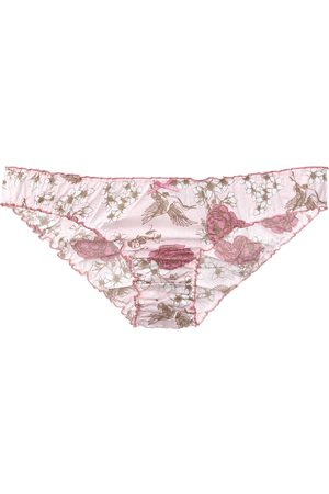 Women's Cotton Organic Ruffle Knickers In Chinoiserie Floral XXL Eco Intimates