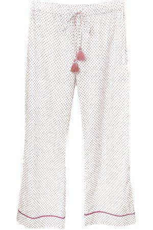 Women's White Cotton Organic Pyjama Pants Medium Eco Intimates