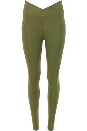 Women's Recycled Green Fabric Crossover Pocket Legging - Eucalyptus Medium Wolven