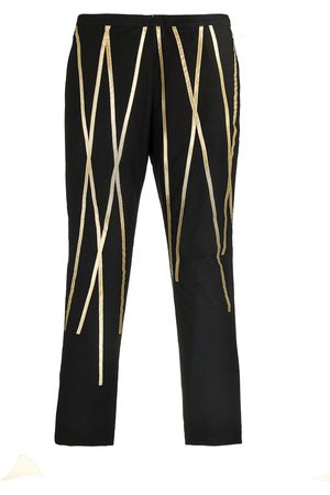 Women's Black Cotton Pants With Streaks 32in QUOD