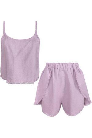 Women Pajamas - Women's Artisanal Lavender Linen Blend Pyjama Set In Medium LYOS
