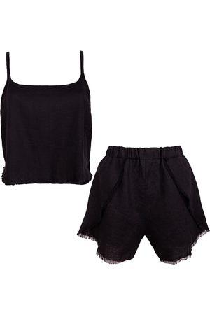 Women Pajamas - Women's Artisanal Black Linen Blend Pyjama Set Medium LYOS