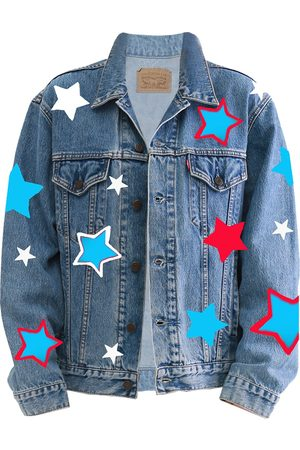 Artisanal Blue Star Hand Painted Levis Denim Jacket XL Quillattire
