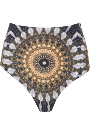 Women's Recycled Golden Fabric Noor Reversible High-Waisted Bikini Bottom Large Wolven
