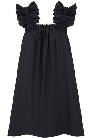 Women's Artisanal Black Cotton Maya Ruffle Dress Medium Monica Nera