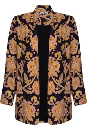 Women's Natural Fibres Black Cotton The Linen Blazer - Paisley Naga XL STATE OF GEORGIA