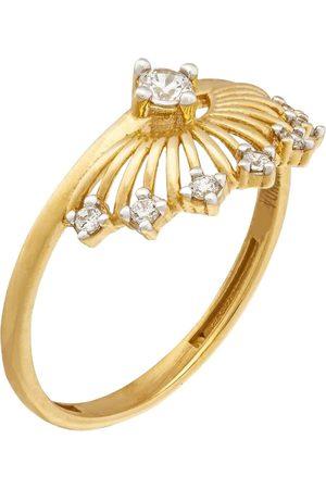 Women's Artisanal Gold Runda 10K Solar Energy Diamond Ring, Lab Grown Diamond Sun Ring Runda Jewelry