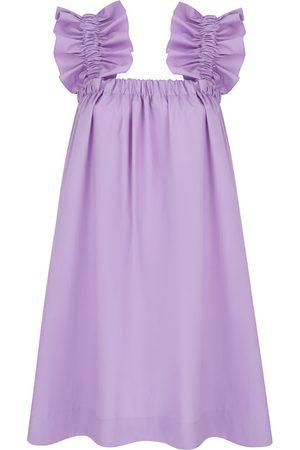 Women's Artisanal Lavender Cotton Maya Ruffle Dress Medium Monica Nera