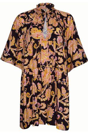 Women's Natural Fibres Black Fabric The Bambi Dress Short - Paisley Naga Large STATE OF GEORGIA