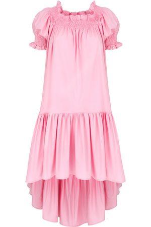 Women's Artisanal Pink Cotton Lori Candy Dress With Elastic Neckline Medium Monica Nera