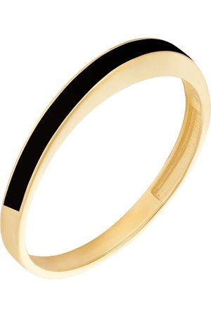 Women's Artisanal Black Solid Gold Runda 10K Horizon To Moon Ring With Enamel, 10K Yellow Gold Ring Runda Jewelry