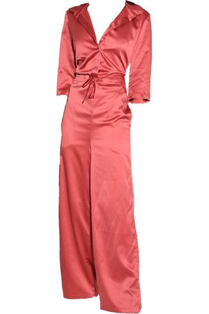 Women Jumpsuits - Women's Low-Impact Pink Fabric Cristina V-Neck Sily Jumpsuit In Small Akalia Official
