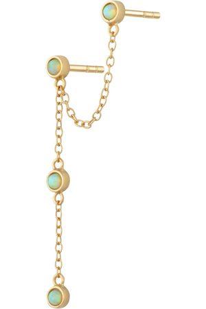 Women's Low-Impact Gold Lime Opal Chandelier Stud Single Earring Scream Pretty