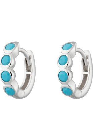 Women's Low-Impact Silver Rhodium Bezel Huggie Earrings With Turquoise Stones Scream Pretty