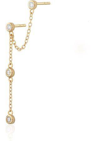 Women's Low-Impact Gold Sparkle Chandelier Stud Single Earring Scream Pretty