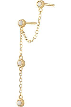 Women's Low-Impact Gold Opal Chandelier Stud Single Earring Scream Pretty