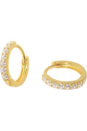 Women Earrings - Women's Low-Impact 18ct Gold Medium Square Set Pave Huggie Hoop Earrings MAEJA Studios