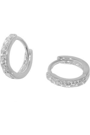 Women Earrings - Women's Low-Impact Silver Small Square Set Pave Huggie Hoop Earrings MAEJA Studios