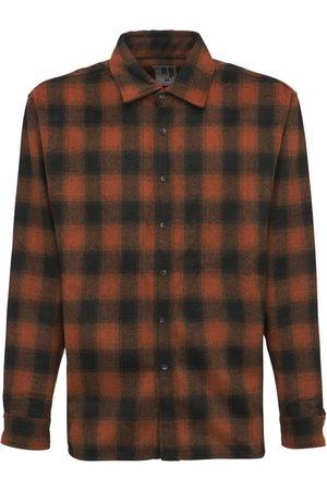 BEACH BRAINS Men Casual - Oversize Wool Blend Plaid Shirt