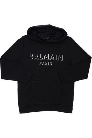 Balmain Girls Sweatshirts - Printed Logo Cotton Sweatshirt