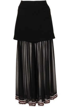 Proenza Schouler Women Asymmetrical Skirts - Crochet-trim chiffon panel skirt