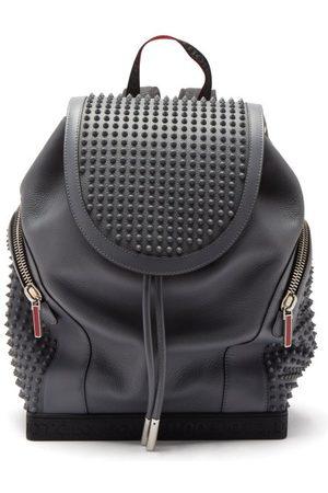 Christian Louboutin Men Rucksacks - Explorafunk Spike-embellished Leather Backpack - Mens - Grey