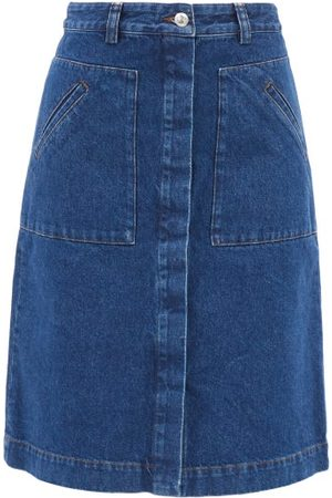 A.P.C. Anita Vintage-denim A-line Midi Skirt - Womens - Dark Denim