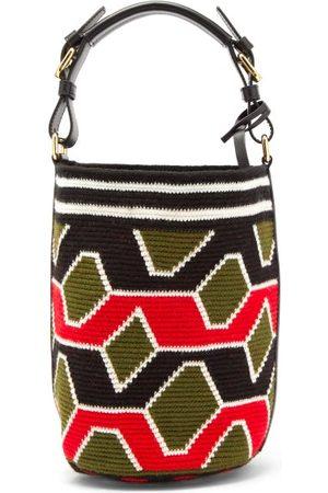 Colville Wayuu Geometric-weave Cotton Bucket Bag - Womens - Khaki Multi