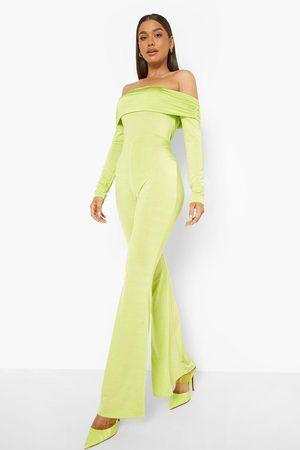 Boohoo Womens Recycled Slinky Flare Bardot Jumpsuit - - 4