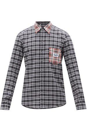 Dolce & Gabbana Men Shirts - Flocked-logo Check Cotton-flannel Shirt - Mens - Multi