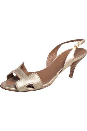 Hermès Leather Night Slingback Sandals Size 37