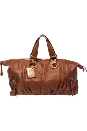 Dolce & Gabbana Pleated Leather Duffel Travel Bag