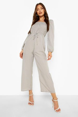 Boohoo Women Culottes - Womens Gingham Shirred Culotte Jumpsuit - - 4
