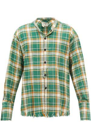 GREG LAUREN Studio Raw-edged Checked Cotton-flannel Shirt - Mens