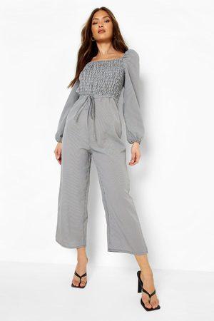 Boohoo Womens Gingham Shirred Culotte Jumpsuit - - 4