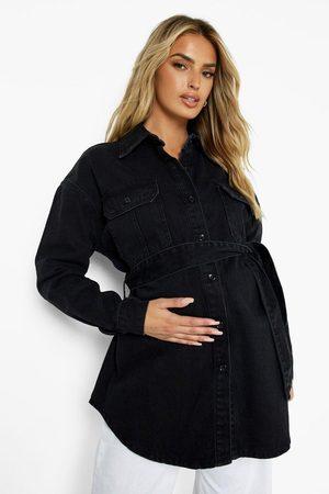 Boohoo Womens Maternity Tie Waist Denim Shirt - - 4